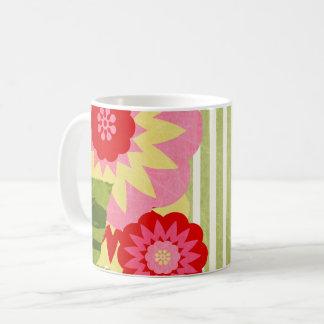 Flor de la MOD con las rayas verdes y blancas Taza De Café