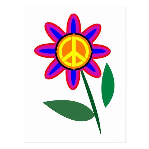 Flor de la paz - arte pop del signo de la paz postales