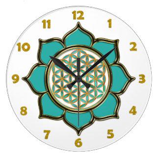 FLOR DE LA VIDA - loto + números de la cara de Reloj Redondo Grande