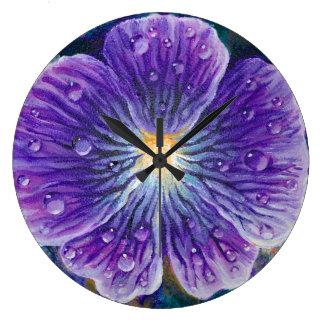 Flor de la viola reloj redondo grande