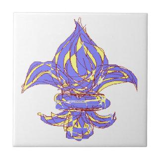 Flor de lis 13b azulejo cuadrado pequeño