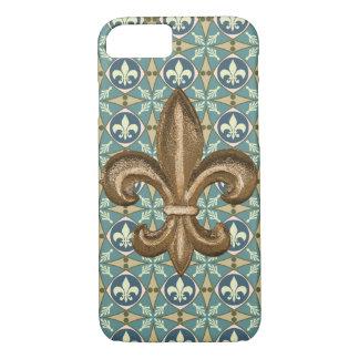 Flor de lis adornada del oro de New Orleans Funda Para iPhone 8/7