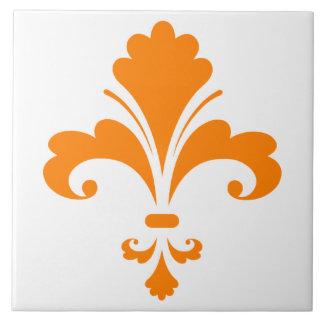 Flor de lis anaranjada azulejo ceramica