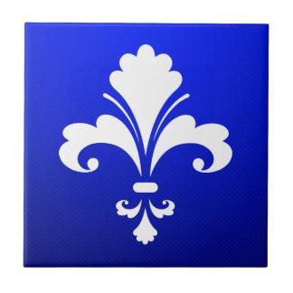 Flor de lis azul azulejo cuadrado pequeño