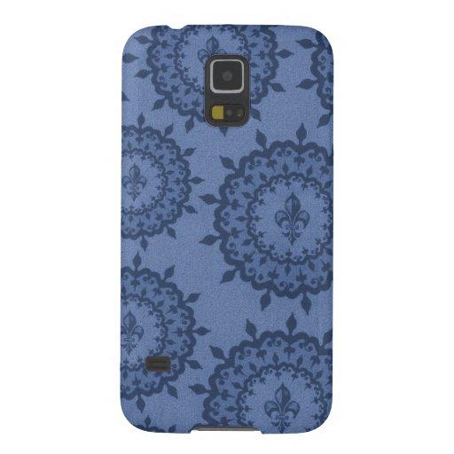 Flor de lis azul carcasas para galaxy s5