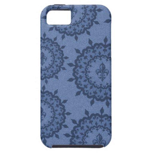 Flor de lis azul iPhone 5 cárcasa