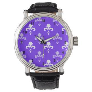 Flor de lis azul, púrpura y blanca violeta reloj de mano