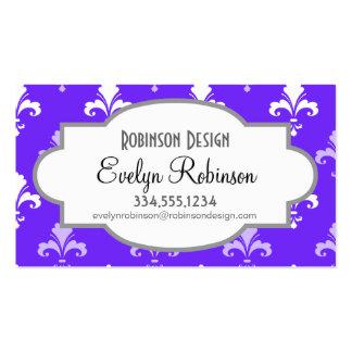 Flor de lis azul, púrpura y blanca violeta plantilla de tarjeta de visita