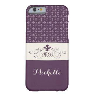 Flor de lis blanca púrpura elegante funda de iPhone 6 barely there