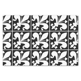 Flor de lis blanco y negro elegante papel de seda
