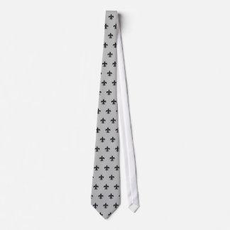 Flor de lis clásica, negra en la corbata de plata