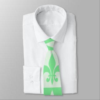 Flor de lis de la verde menta corbata personalizada