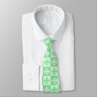 Flor de lis de la verde menta corbatas personalizadas