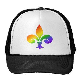 Flor de lis de lujo del arco iris gorros