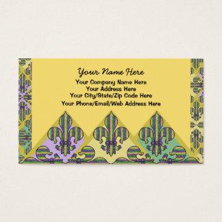 Flor de lis del carnaval de la raya tarjeta de negocios