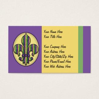 Flor de lis del carnaval de la raya tarjeta de visita