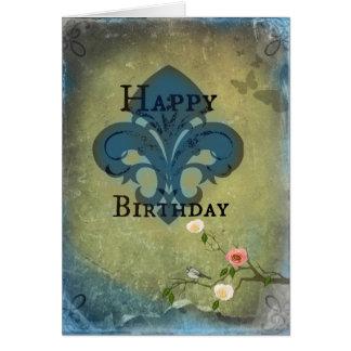 Flor de lis del cumpleaños tarjeta de felicitación