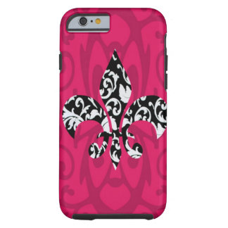 Flor de lis del damasco con rosa funda de iPhone 6 tough