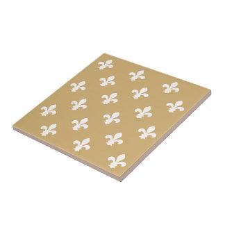 Flor de lis del neutral de la masilla azulejo cuadrado pequeño