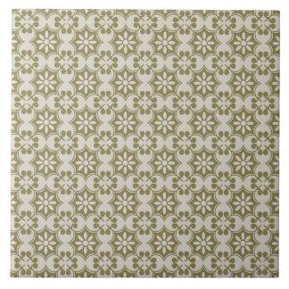 Flor de lis elegante del verde verde oliva que rep azulejo cuadrado grande