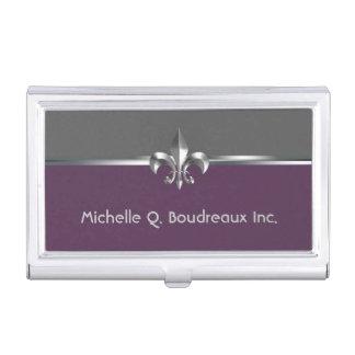 Flor de lis gris moderna de la berenjena caja de tarjetas de negocios