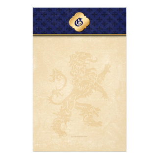 Flor de lis medieval del azul del león del oro  papeleria