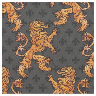 Flor de lis medieval del gris del negro del león tela