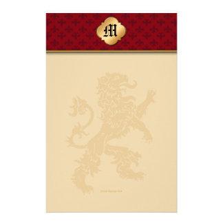 Flor de lis medieval del rojo del león del oro papeleria de diseño