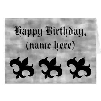 Flor de lis medieval en cumpleaños gris del grunge tarjeta de felicitación