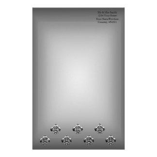 Flor de lis metálica (plata) papeleria personalizada