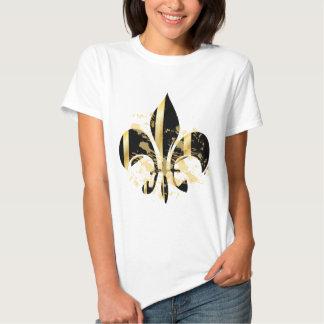 Flor de lis/negro del Grunge + oro Camisas