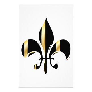 Flor de lis/negro + oro papelería de diseño