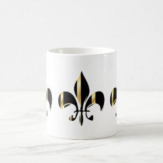 Flor de lis/negro + oro taza clásica