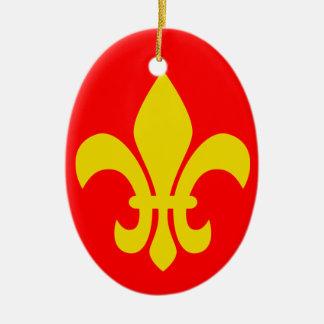 Flor de lis * ornamento del navidad de Francia Adorno Ovalado De Cerámica