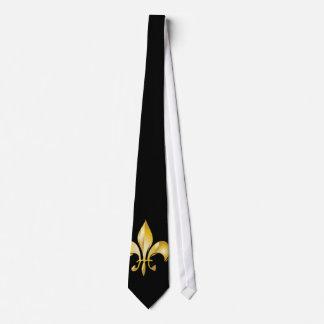Flor de lis pura del oro corbata