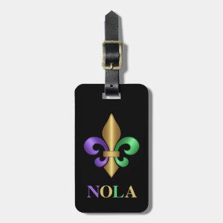 Flor de lis púrpura del carnaval del verde y del etiquetas para maletas