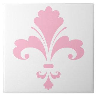 Flor de lis rosa clara azulejo