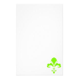 Flor de lis verde chartreuse, de neón papelería personalizada