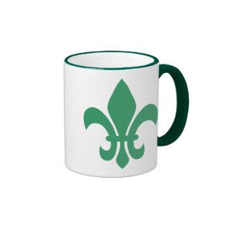 Flor de lis verde tazas