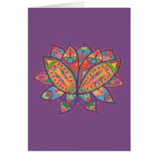 Flor de loto colorida tarjeta de felicitación