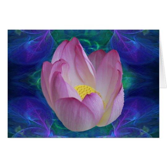 Flor de loto rosada tarjeta de felicitación