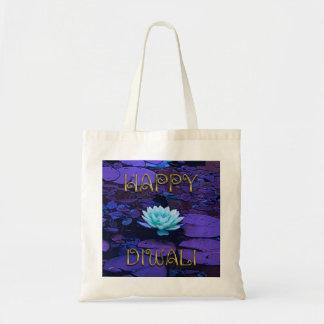 Flor de Lotus floral púrpura de la tipografía Bolso De Tela