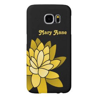 Flor de Lotus ilustrada amarillo personalizada Funda Samsung Galaxy S6