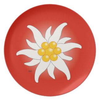 Flor de montaña edelweiss plato