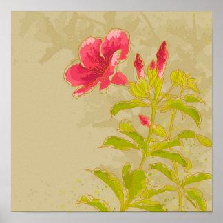 Flor del Allamanda en fondo entonado Póster