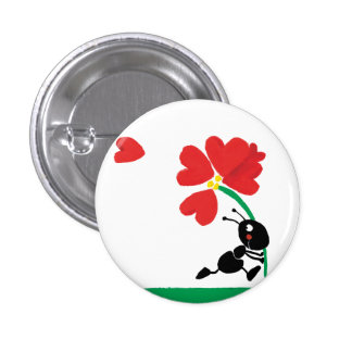 flor del amor chapa redonda de 2,5 cm