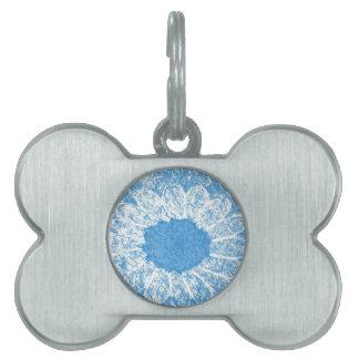 flor del azul de cielo placa para mascotas