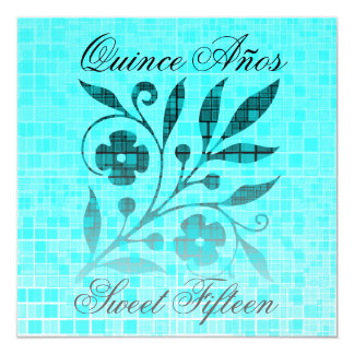 Flor del azul de la invitación del dulce quince de