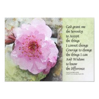 Flor del ciruelo del rezo de la serenidad invitación 12,7 x 17,8 cm