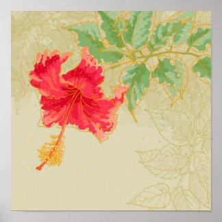 Flor del hibisco en fondo entonado póster
